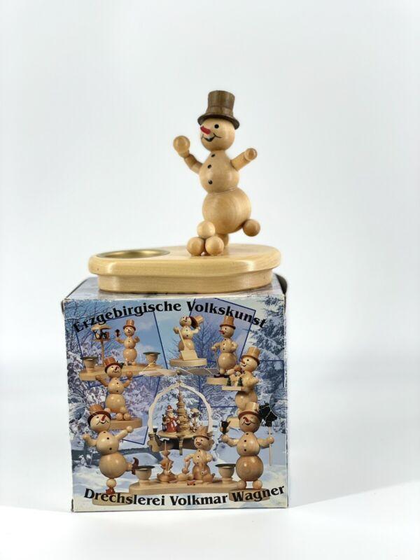 Wagner D.V.W. Snowman German Christmas Tealight Wooden + 3 Candles