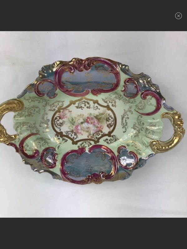 1914-1945 Royal Saxe Germany Lusterware 2 Handled Bowl