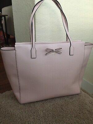 Kate Spade Handbag Baby Pink Bag Women's Large Purse With Bow Leather Shoulder