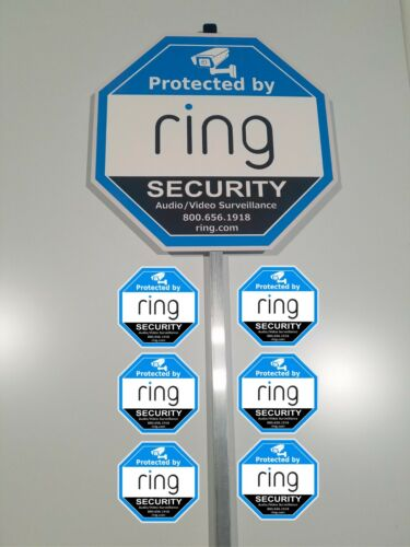 Home Ring security yard sign 6 outdoor Window/Door with a Aluminum Pole Stake
