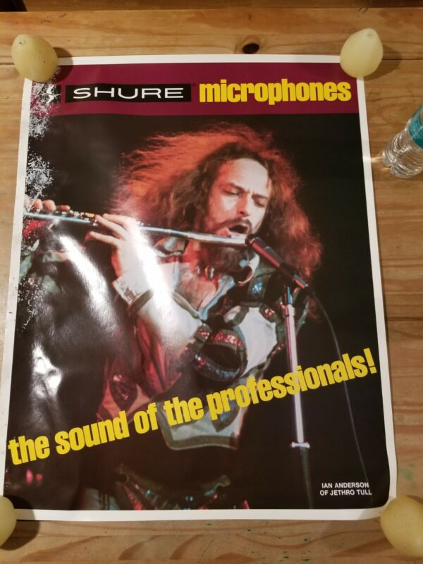 """Shure Microphone Jethro Tull Ian Anderson poster 28""""×22"""""""