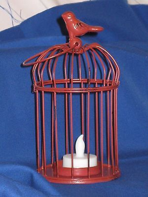 Decorative Bird Cage, LED Tealight Candle Holder, Made Of Metal,    Color-White