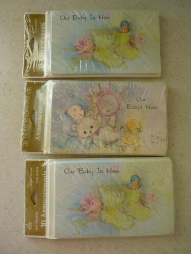Vintage Birth Announcements (3) Packs of 10 American Greetings Unisex