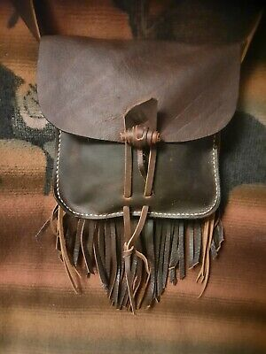 rendezvous 5.5 inches wide by 5.5 high Colonial reenacting Leather Wallet  Coin purse antler button closure mountain man Civil War
