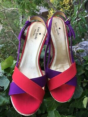 Genuine Kate Spade New York Platform shoes scarlet & plum US Size 9 UK 6