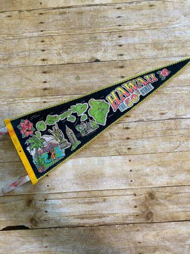 "Hawaii 50th State Felt Banner Pennant Island Point Of Interest Glitter 29"""