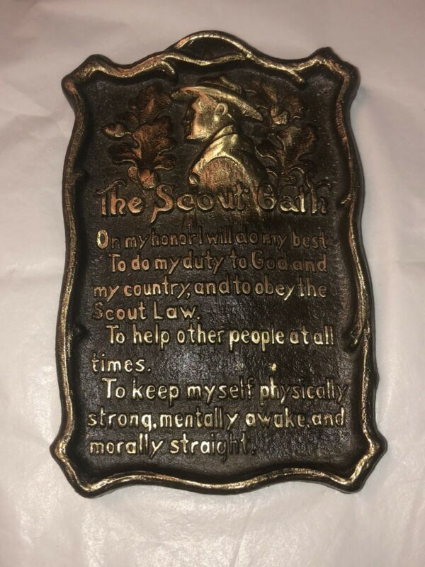 Vintage / Antique Heavy Cast Iron The Scout Oath Boy Scout Motto Wall Plaque
