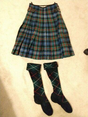 2 Pc Highland Dance Competition Womens Small Medium Blue Green Tartan Kilt Socks