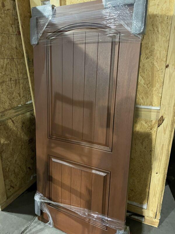 "2 Panel Solid Door, exterior slab, 36"" x 80"" Farmhouse Craftsman Arch Top Shaker"