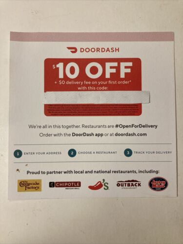 DoorDash Coupon Code - 10 Off 1st Order 0 Del Fee- Exp 10/31/21 E-Delivery  - $1.49