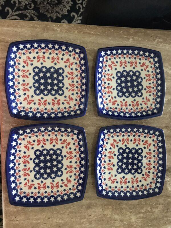 "Polish Pottery Boleslawiec Stars & Stripes(Bows) 7"" Square Salad Plate Set Of 4"