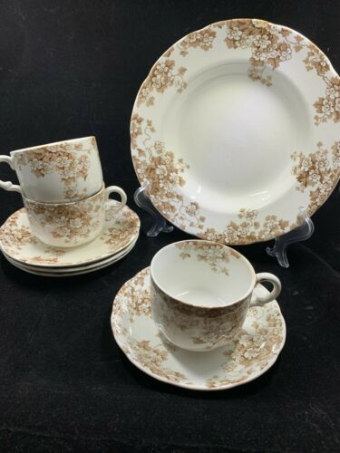 Lot of 8 pcs Vintage Alfred Meakin KENWOOD Bowl cups saucers Brown Flowers Ivy