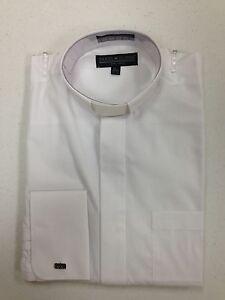 Men 39 s preacher tab collar clergy shirt white 18 1 2 34 35 for Mens tab collar dress shirts
