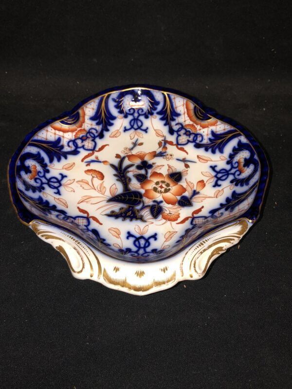 "9 7/8"" Flow Blue Polychrome Shrimp Dish"