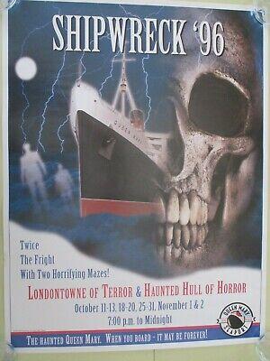 R.M.S QUEEN MARY LONG BEACH CALIFORNIA HALLOWEEN SHIPWRECK 96 PROMO POSTER 1996](Queen Mary Halloween Long Beach)