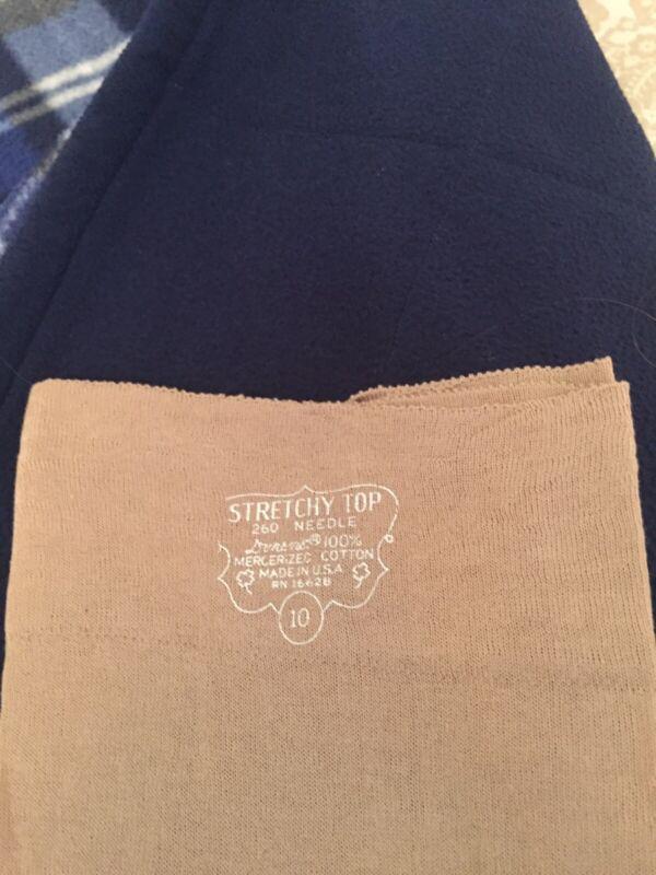 1 Pair Vintage Garter stockings Cotton 10 Flat Knit Tan