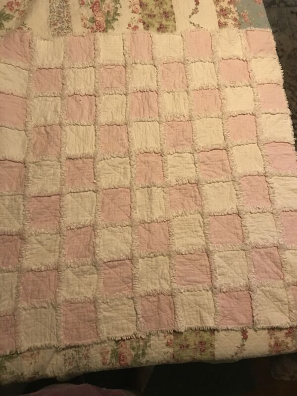 """Hand Made Pink and White Flannel Square Baby Quilt 41"""" X 41"""""""