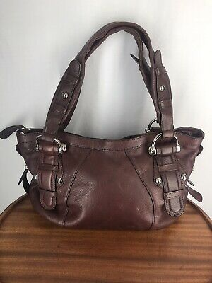 B MAKOWSKY Brown Soft Pebbled Leather Handbag Tote Satchel Leopard Print NEW!