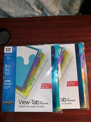 Wilson Jones Durable Poly Subject View-tab Dividers W Pockets -2 Package Lot