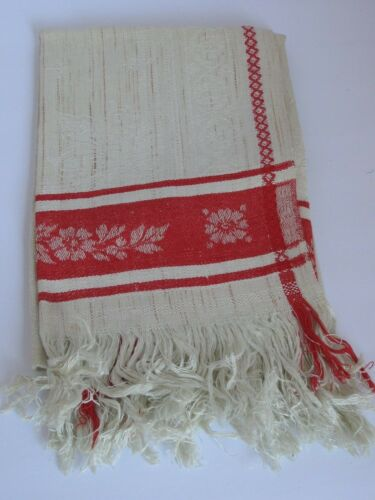 "Antique Linen Damask Towel Turkey Red  21"" X 48"""