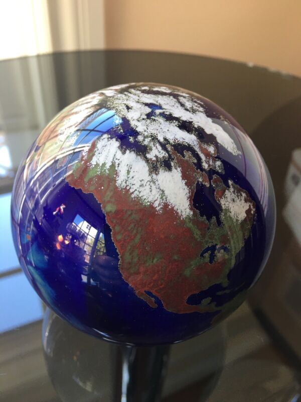 Lundberg Studios Art Signed Glass World Earth Globe Paperweight 3.5 inches