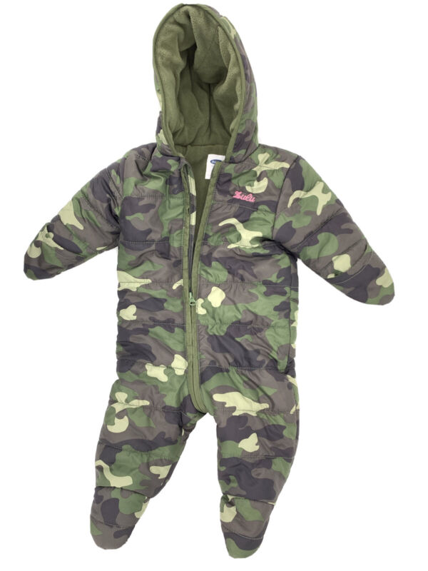 Old Navy Baby Girl Snow Winter Suit Camouflage Snowsuit Hood Mittens EUC 6-12mo