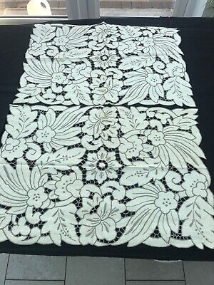Vintage Table Linen Runners, Cutwork 55x40cm