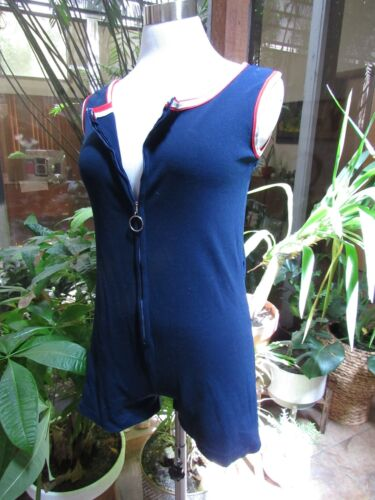 MOD vtg 60s PiN Up Playsuit Romper Red White Blue Beach Swimsuit Zip One Piece M