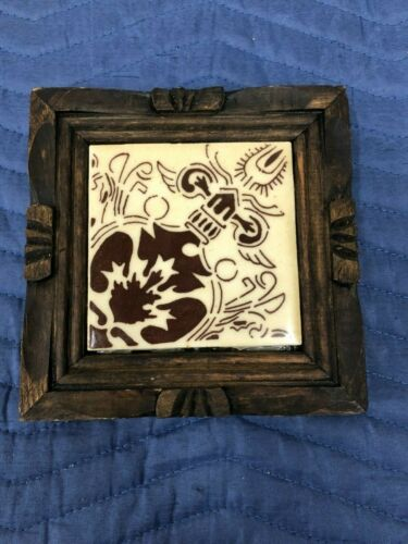 ORION MONTERREY MEXICO CERAMIC TILE HOT PLATE STAND CARVED WOOD BROWN