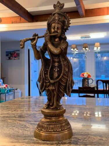 Exceptional 19th Century Bronze Krishna Statue 19 Inches Tall
