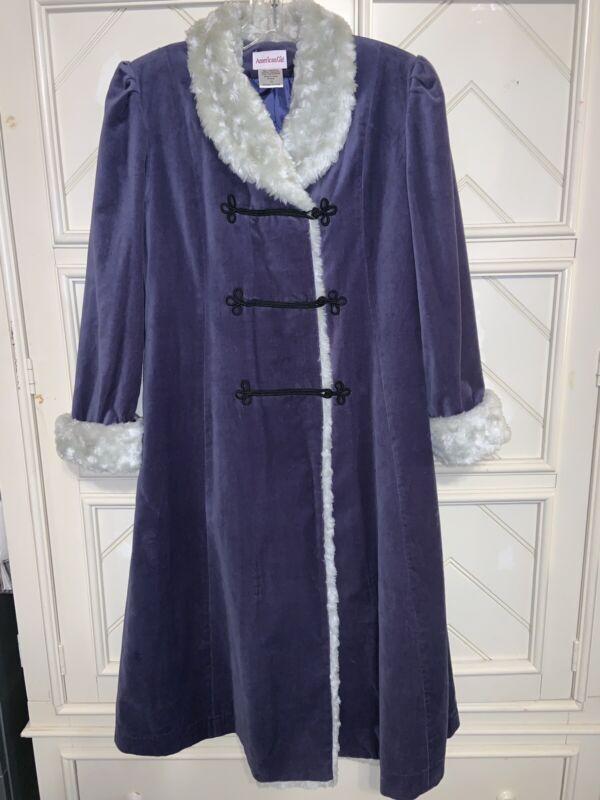 American Girl SAMANTHA Blue Velvet HOLIDAY Victorian Coat for Girl Size 14
