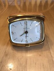 Vintage Rensie Fold Up Alarm Clock Wind Up Travel Brass White Face Glow Square