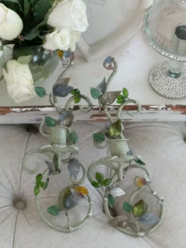 Pair Vtg Italian Metal Tole style Wall Sconce Candelabra Leaf glass shabby