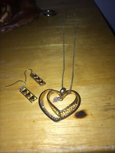 2 heart necklace and hearts in box earrings