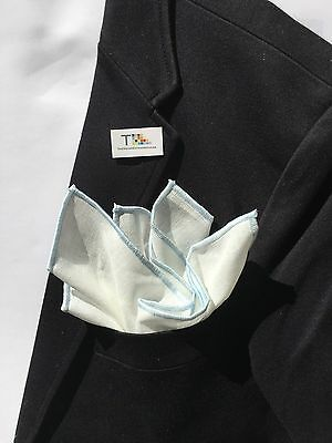 NEW-100% White Linen Pocket Square with Light Blue Trim