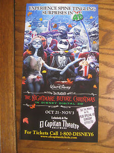 Nightmare Before Christmas El Capitan Theatre Promotional Flyer 2011 ...