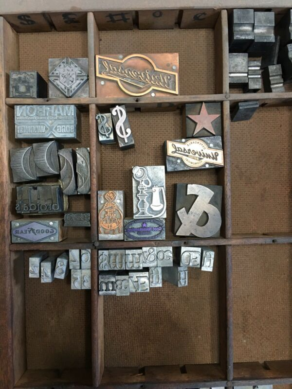 Large Lot Of Printing Letterpress Printer Blocks Vintage Military Goodyear Borg