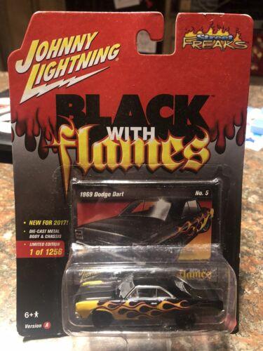 JOHNNY LIGHTNING 69 DODGE DART BLACK WITH FLAMES STREET FREAKS DIECAST 2017 NIP - $8.99