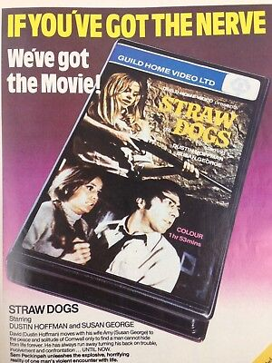 Vintage 1981 Print Ad STRAW DOGS Movie VHS Poster Dustin Hoffman Susan George