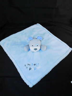 Baby Gear Blue MY BEST PUP Security Blanket Lovey  Gray Dog Eye Patch