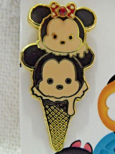 2016 Disney Booster Pin HKDL Tsum Tsum Ice Cream Cone Mickey & Minnie Mouse