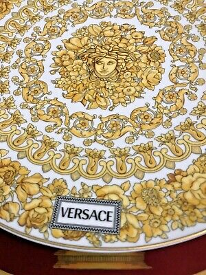 """VERSACE MEDUSA CHARGER PLATE RHAPSODY CAKE 13"""" NEW IN BOX LOVER GIFT IDEA"""