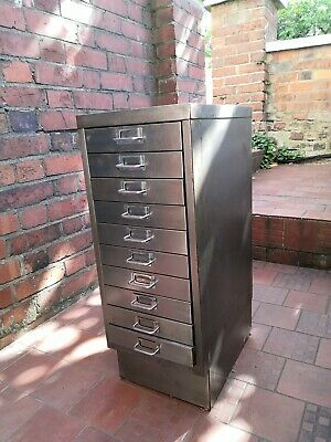 Vintage / Industrial Steel Filing Cabinet Stripped & Polished, 10 Drawers