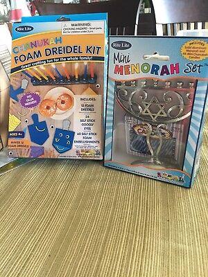 Rite-Lite Judaica Mini Aluminum Menorah includes Mini Candles plus bonus dreidel