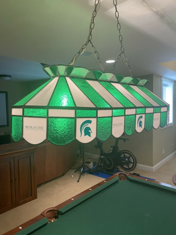 Michigan State pool table light stained glass