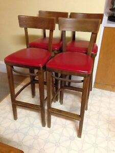 Set Of 4 Vintage 1970's Bistro Style Stools, Sturdy