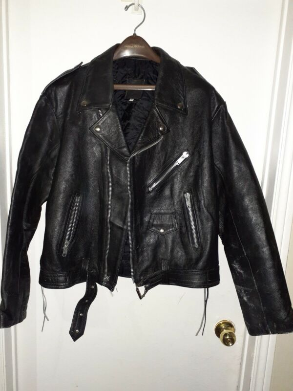 SAVE THE PLANET Mexico Black Leather Biker Style Jacket-Size 46-Hard Rock Cafe
