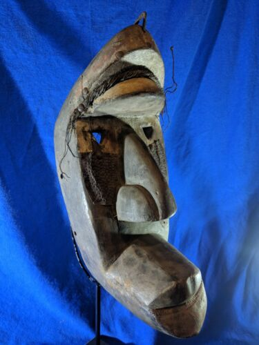Bold Mask with Powerful Features — Authentic Handcarved Wood African Art