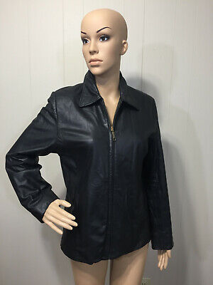 "Soft Supple ""Outbrook"" Womens Zip Front Fitted Fully Lined Leather Jacket Small"