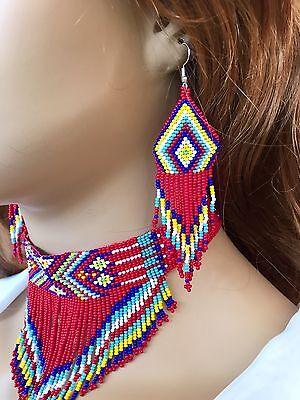 NEW WOMEN RED CHUNKY BEADED CHOKER BIB NECKLACE EARRINGS SET S54/10 Beaded Choker Necklace Earrings
